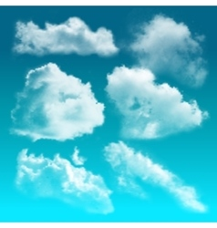 Transparent Clouds Realistic Icon Set vector image
