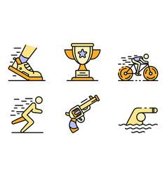Triathlon icons set flat vector