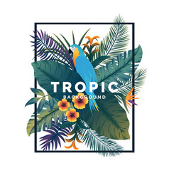 tropical bakground with frame 2 vector image