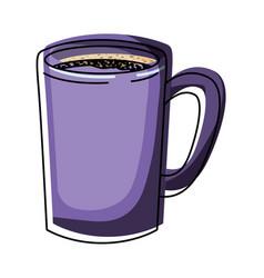 Tubular mug of coffee colorful watercolor vector