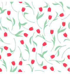tulips flowers pattern seamless vector image