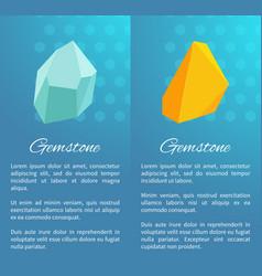 Uncut natural gemstones vertical promo posters vector