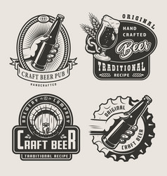 vintage craft beer prints vector image