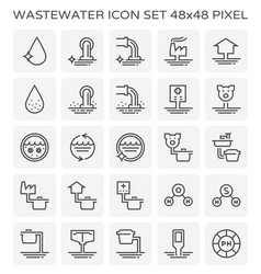 Wastewater icon set vector