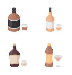 Whiskey liquor rum vermouthalcohol set vector