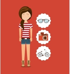 Woman character hipster style vector