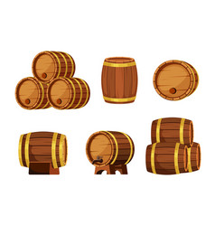 wooden barrels set brown containers for storing vector image