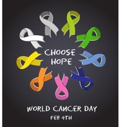 World cancer day colorful awareness ribbons vector image