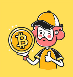 Young bearded man show bitcoin coin sign in hand vector