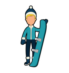 young man with ski equipment vector image