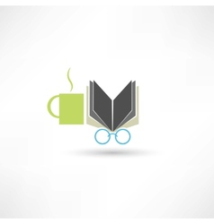 Coffee book and glasses vector image vector image