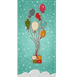 Colored balloons tied to a gift box vector image
