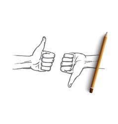 Hand drawn human hands with like and dislike vector image