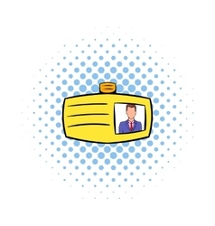 Identification card icon comics style vector image vector image