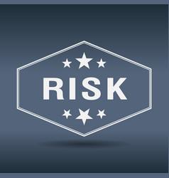 risk hexagonal white vintage retro style label vector image