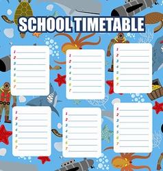 School timetable Schedule Back to school vector image