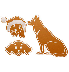 set dog gingerbread cookie christmas ginger snap vector image vector image