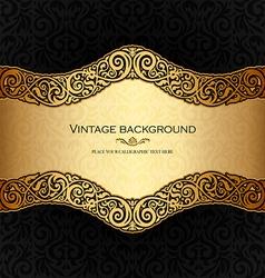 Vintage background black and gold vector image vector image