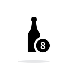 Beer bottle with number simple icon on white vector image vector image