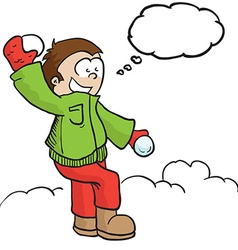 boy with snowball and tgought bubble vector image