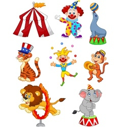 Cartoon Set of Cute Circus themed vector image
