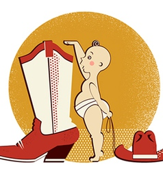 Cowboy baby and boot vector image vector image
