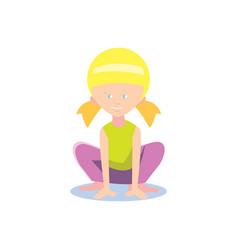 little girl doing sport exercise vector image