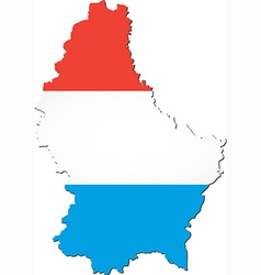 Map of Luxembourg with national flag vector image