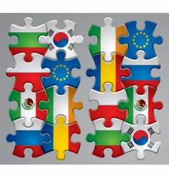 puzzle flag icons vector image vector image