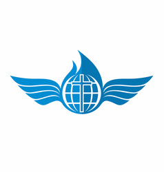 the cross of jesus the globe and wings vector image vector image