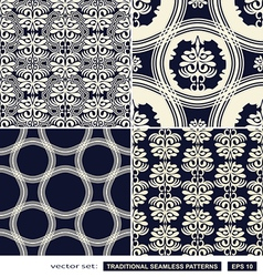 Vintage ornamental backgrounds blue set vector image