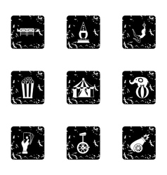 Circus performance icons set grunge style vector