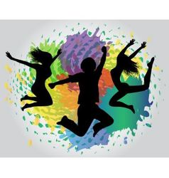 jumping silhouettes against splashes vector image vector image