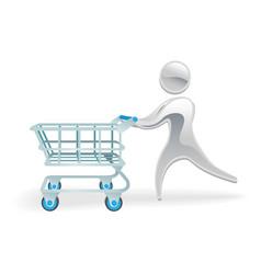 Metallic character shopping cart trolly concept vector