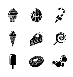 Sweet icons set with - cupcake donut cake ice vector image vector image