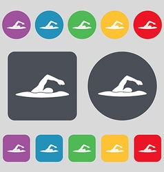 swimmer icon sign A set of 12 colored buttons Flat vector image