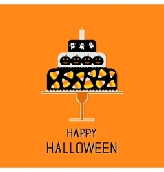 Cake with candy corn pumpkin ghost and candle vector image