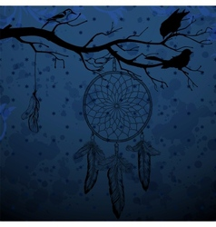 Dark blue background with dream catcher and birds vector image vector image