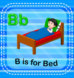flashcard letter b is for bed vector image