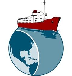 Passenger Cargo Ship on Top of Globe vector image