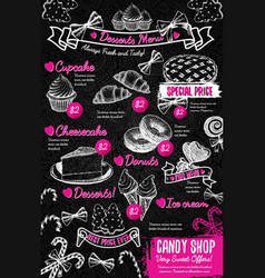 sweet desserts menu template in vintage style vector image