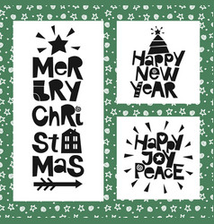 3 holiday quotes happy new year joy peace merry vector