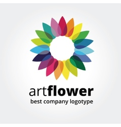 Abstract colored flower similar to sun logotype vector image