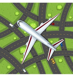 Aerial scene with airplane flying in the sky vector