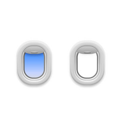 Airplane window open realistic aircraft windows vector