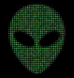alien face halftone icon vector image