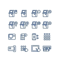 Atm terminal thin line icons set vector image