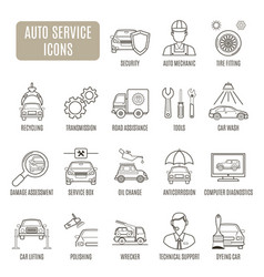 Auto service icons set of pictograph vector