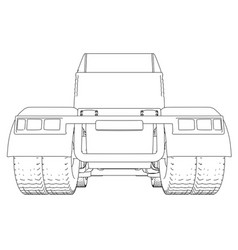 back view truck isolated on white background vector image