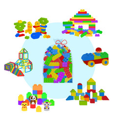 bag full lego bricks wooden cubes and magnetic vector image